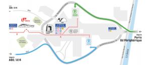 Plusieurs parkings sont situés à proximité de l'U-Arena: le parking Coupole Regnault et le parking Villon.